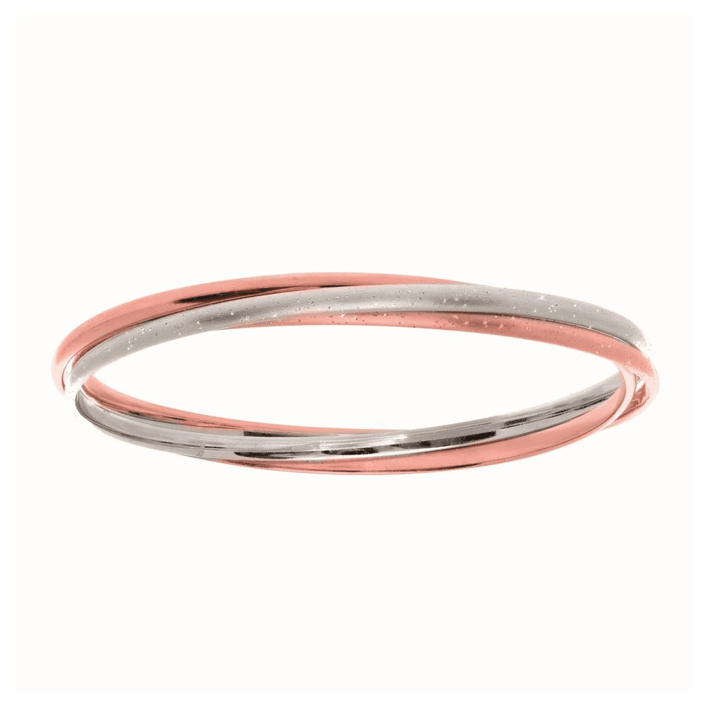 Shiny Textured Interconnected Slip On Bangle - Sterling Silver