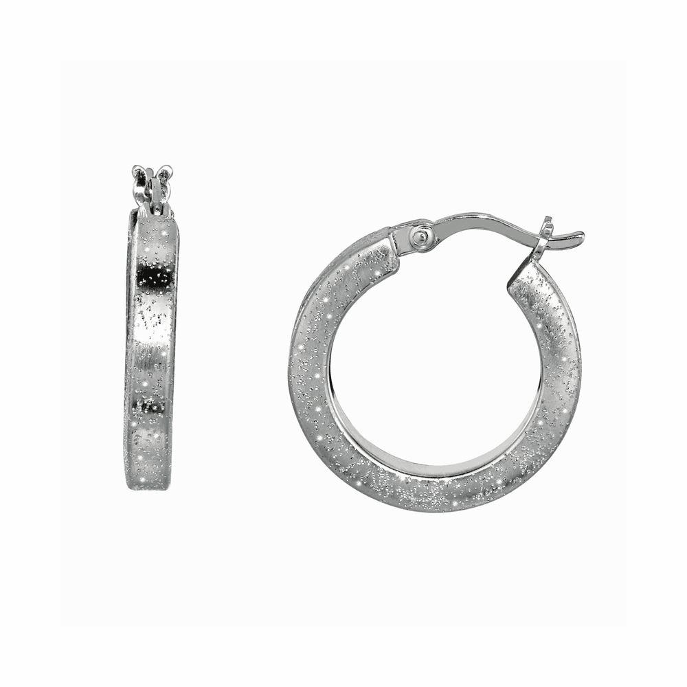 Shiny Textured Round Hoop Earrings - Sterling Silver