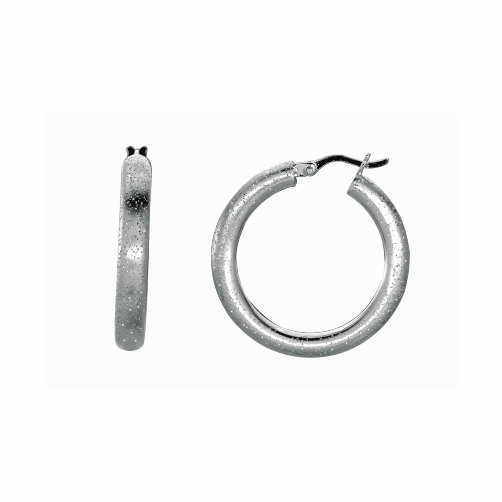 Shiny Textured Round Hoop Earrings with Hinged Clasp - Sterling Silver