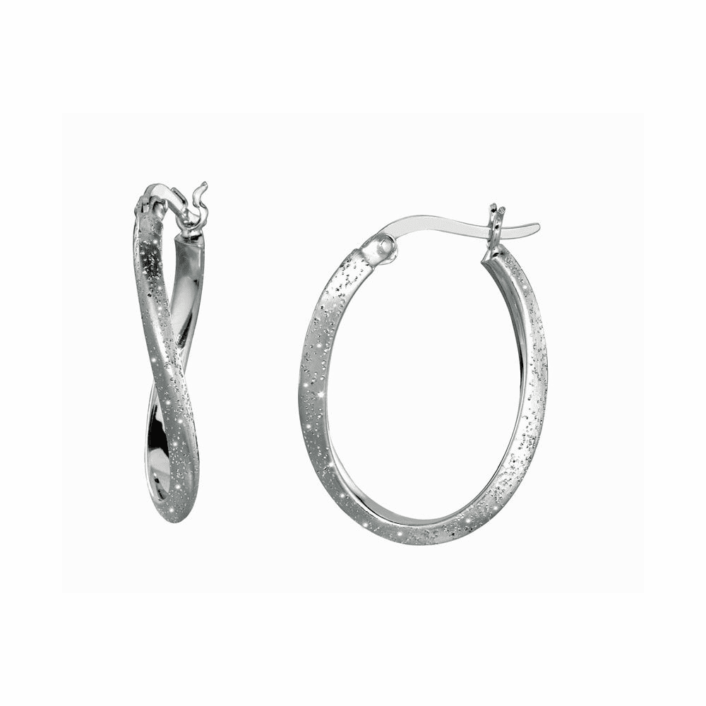 Shiny Textured Twisted Oval Hoop Type Earrings - Sterling Silver