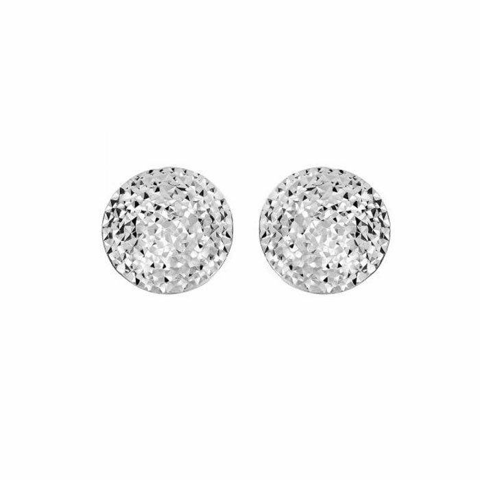 Siilver 15mm Shiny/Hammered Puffed Circle Button Type Post Earring