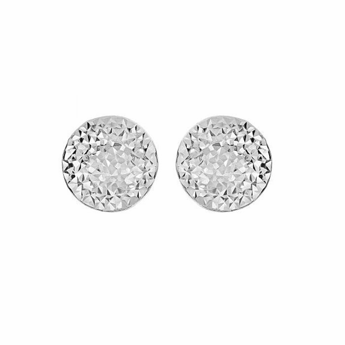 Siilver Rhodium 12mm Shiny Hammered Puffed Circle Button Post Earring