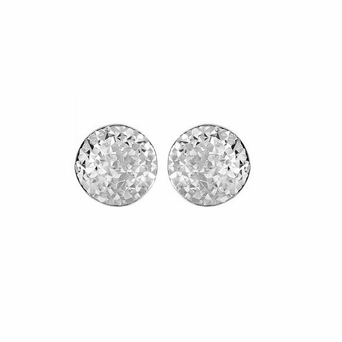 Siilver Rhodium 9mm Shiny Hammered Puffed Circle Button Post Earring