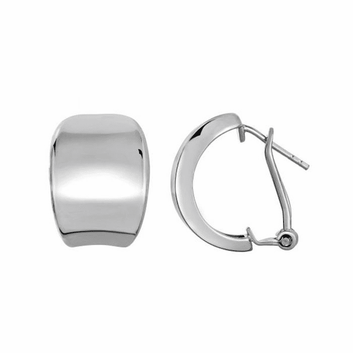 Siilver Rhodium Shiny Slightly Concave Teardrop Type Omegaback Earring