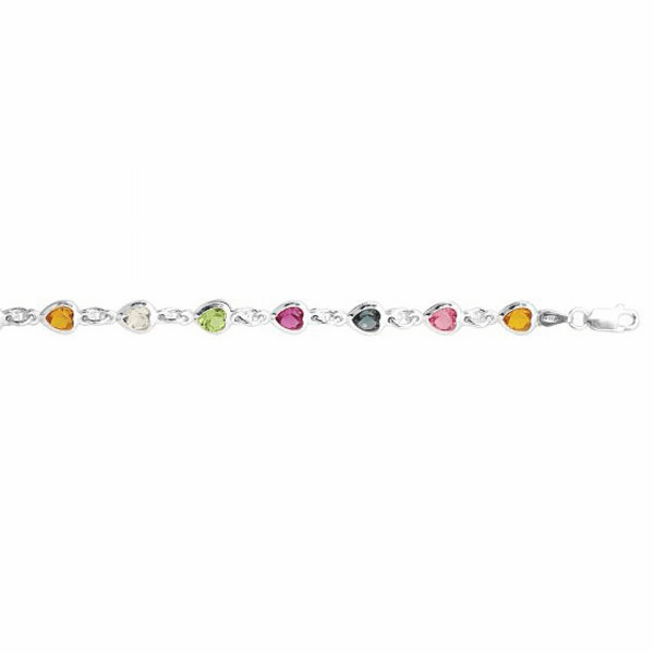 "Silver 10"" Rhodium Oval Link/Heart Shape Multi-Color Crystal Anklet"
