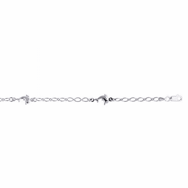 """Silver 10"""" Rhodium Shiny Oval Link/Station Dolphin Charm Anklet"""