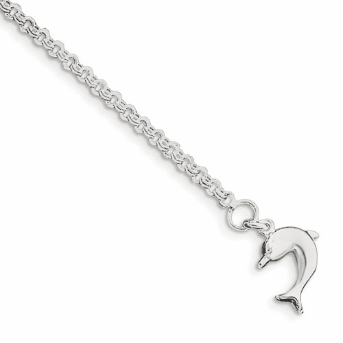 Silver 10inch Hollow Polished 3-dimensional Dolphin Anklet Qg431-10