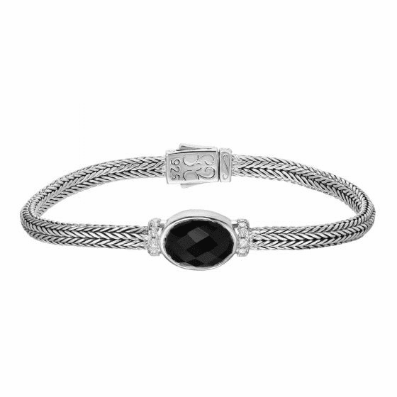 Silver 10x14mm Woven Bracelet Black Onyx and White Sapphires
