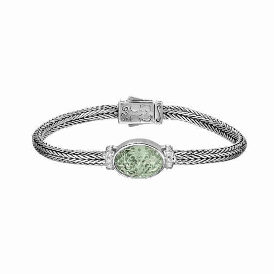 Silver 10x14mm Woven Bracelet Green Amethyst and White Sapphires