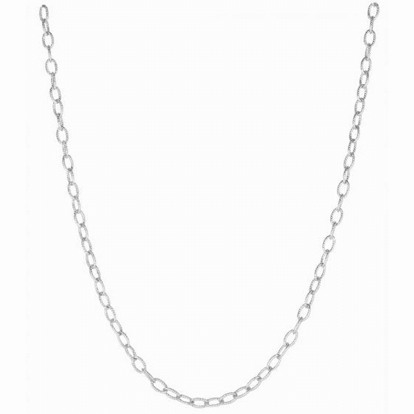 "Silver 11"" Rhodium Shiny Textured Cable Link Chain Anklet"