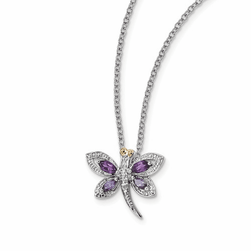 Silver & 14k Amethyst And Iolite And Diamond Dragonfly Necklace