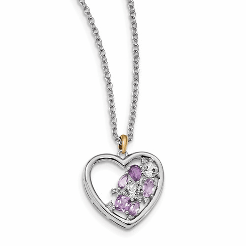 Silver & 14k Amethyst And Topaz And Diamond Necklace