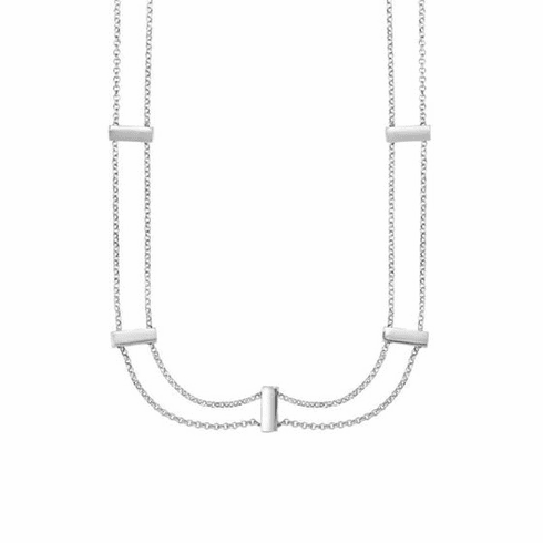 """Silver 16"""" Rhodium Shiny/Textured Fancy Necklace with Lobster Clasp"""