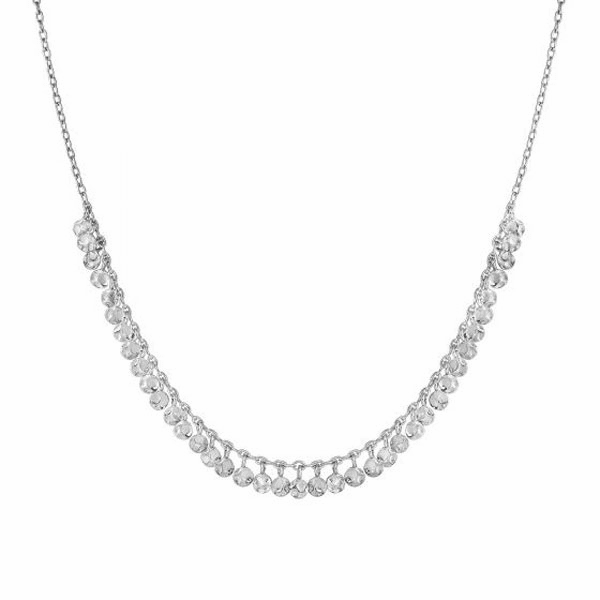 "Silver 16"" with Rhodium 5mm Textured Round Adjustable Fancy Necklace"