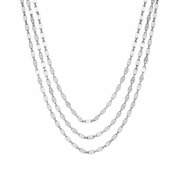 "Silver 16"" with Rhodium Finish Shiny Fancy Necklace with Lobster Clasp"