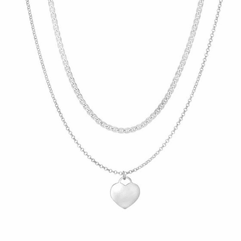 """Silver 16"""" with Rhodium Shiny Fancy Heart Necklace with Lobster Clasp"""