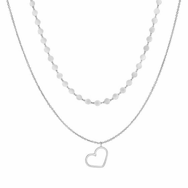 "Silver 16"" with Rhodium Shiny Fancy Pendant+ Chain Open Heart Necklace"