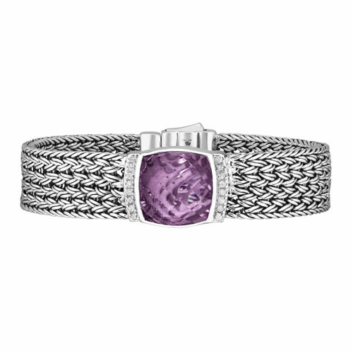 Silver 16mm Cushion Cut Pink Amethyst & White Sapphires Woven Bracelet