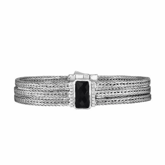 Silver 16mm Woven 3-strand Bracelet with Black Onyx & White Sapphire