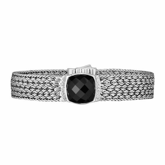 Silver 16mm Woven Bracelet with Cushion Cut Black Onyx/White Sapphires