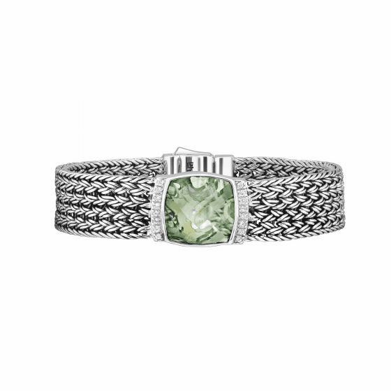 Silver 16mm Woven Bracelet with Green Amethyst & White Sapphires