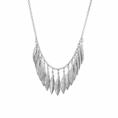 "Silver 17.75"" Rhodium Diamond Cut Leaf Element on Rolo Chain Necklace"