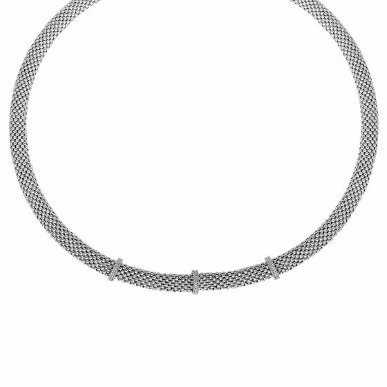 Silver 17 Inch Popcorn Texture Necklace with Diamond Bar Stations
