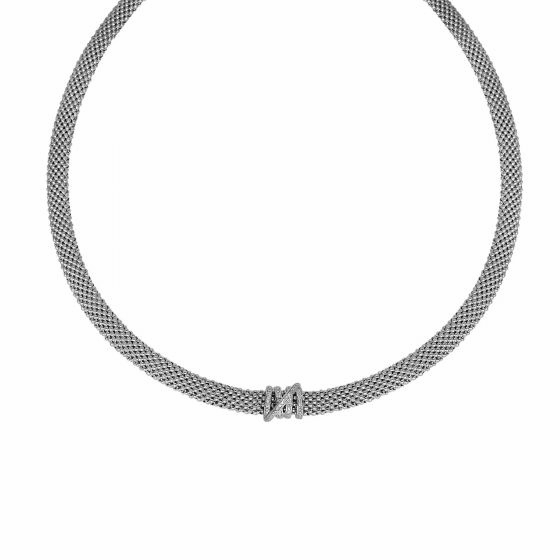 Silver 17 Inch Popcorn Textured Tally Necklace with Diamonds