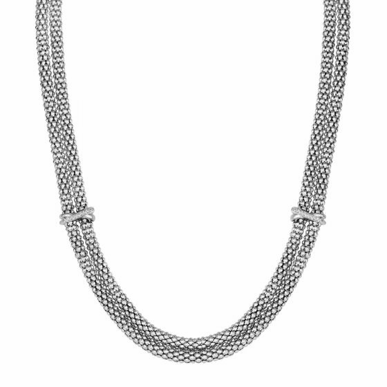 Silver 18 Inch Popcorn Double Strand Necklace with Diamonds