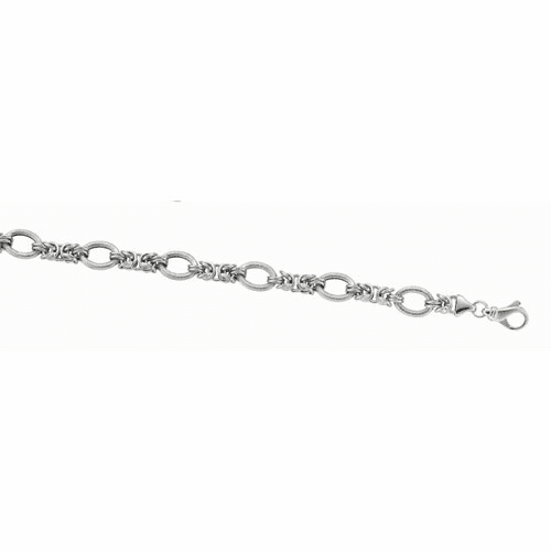 Silver 18 Inch Rhodium Shiny Italian Cable Necklace with Lobster Clasp