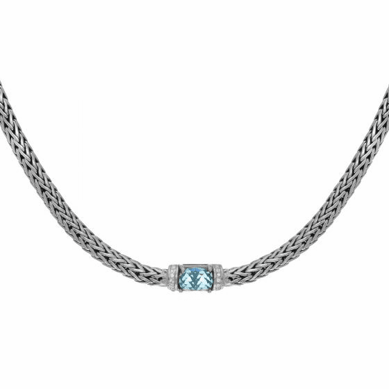 Silver 18 Inch Woven Necklace with Cushion Blue Topaz & White Sapphire
