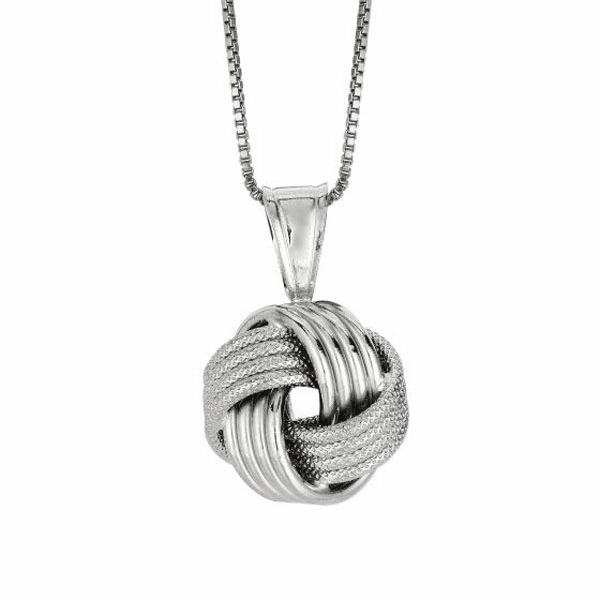 "Silver 18"" Rhodium 1.1mm Box Chain+ 13.0mm Shiny Textured Love Pendant"