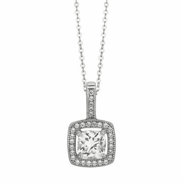 "Silver 18"" Rhodium 1.1mm Cable Chain+12mm Square with Clear CZ Pendant"