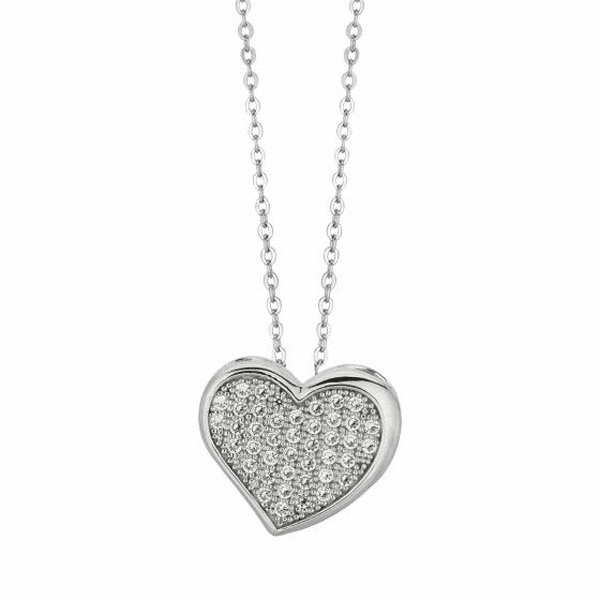 "Silver 18"" Rhodium 1.1mm Cable Chain + 15 mm Heart with CZ Pendant"