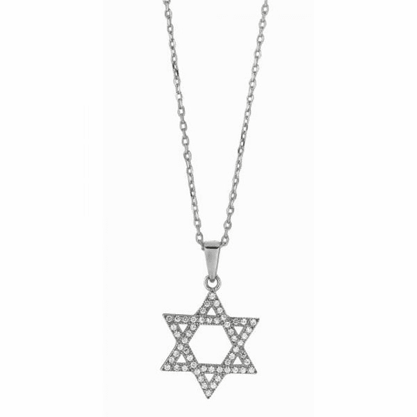 "Silver 18"" Rhodium 1.1mm Cable Chain + Star Of David Clear CZ Pendant"