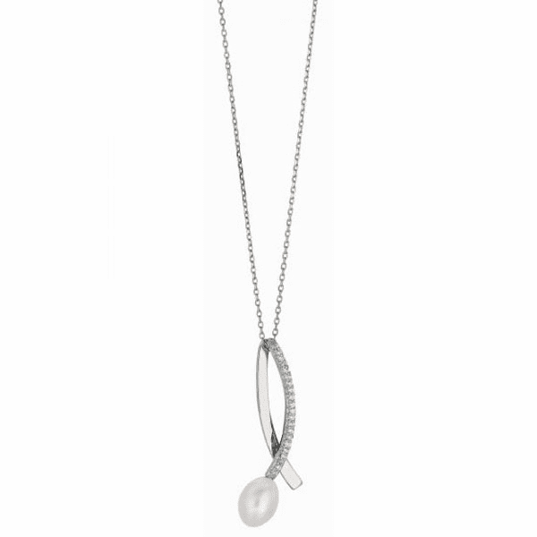 "Silver 18"" Rhodium 1.2mm Cable Chain+White Pearl Long Loop CZ Pendant"