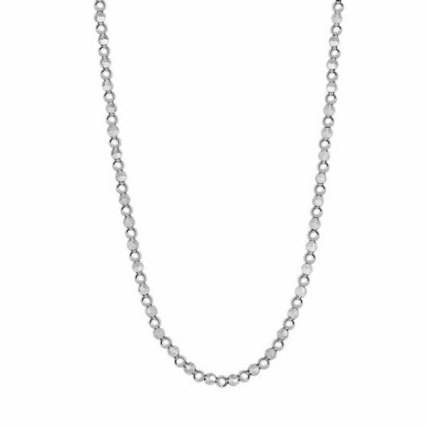 "Silver 18"" Rhodium 4mm Diamond Cut + Shiny Bead Fancy Necklace"