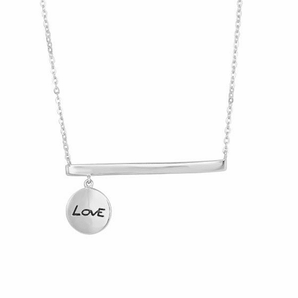 "Silver 18"" Rhodium Bar with ""Love"" Charm Fancy Necklace"