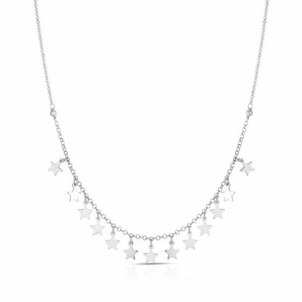 "Silver 18"" Rhodium Finish Necklace with Spring Ring Clasp -AGRC2218"