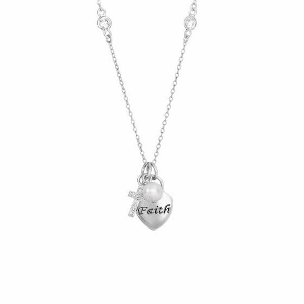 "Silver 18"" Rhodium Heart Lock-Key Fancy Necklace with Lobster Clasp"