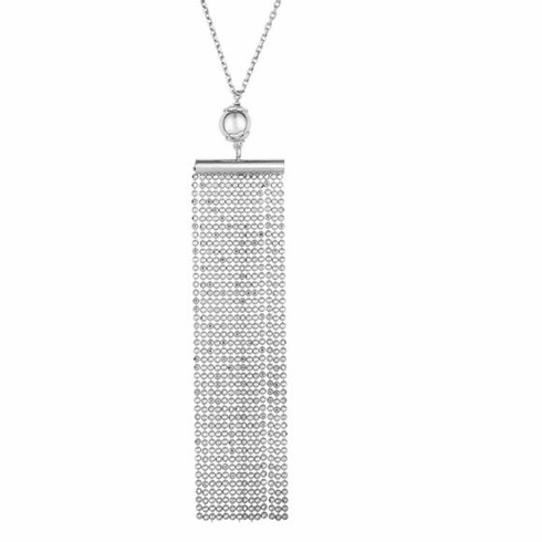 """Silver 18"""" Rhodium Multi Stranded Element on Chain with Lobster Clasp"""