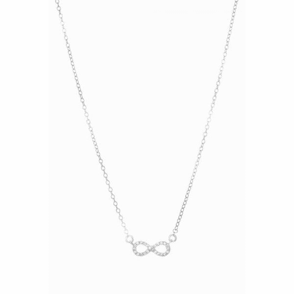 "Silver 18"" Rhodium Shiny Cable Chain+Infinity Pendant with White Stone"