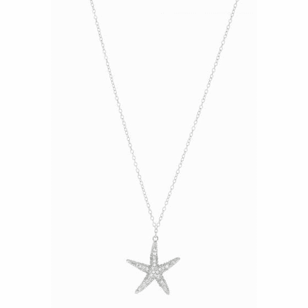 "Silver 18"" Rhodium Shiny Cable Chain Necklace+Starfish with White CZ"