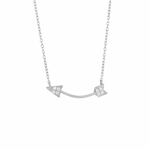 "Silver 18"" Rhodium Sideways Curved Arrow Fancy Necklace"