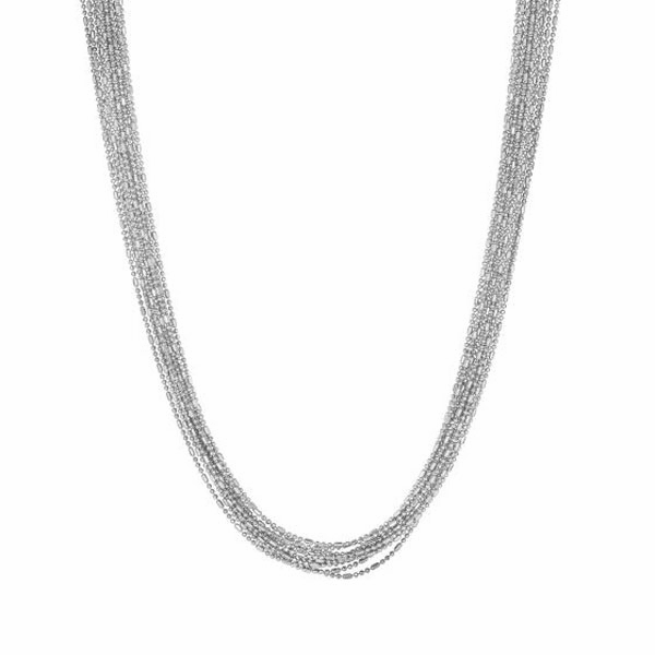 "Silver 18"" Shiny + Diamond Cut Multi Stranded Bead Chain Necklace"