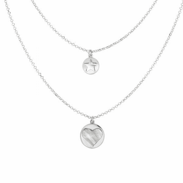 "Silver 18"" with Rhodium Finish Necklace with Lobster Clasp - AGRC2712"
