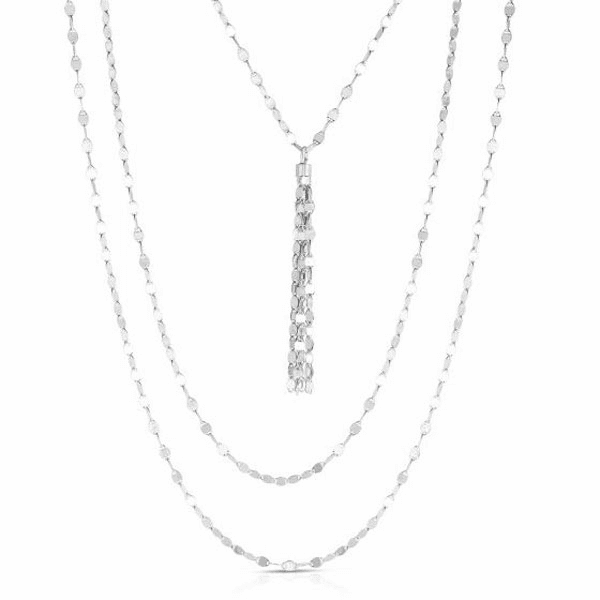 "Silver 18"" with Rhodium Finish Necklace with Lobster Clasp - AGRC2941"