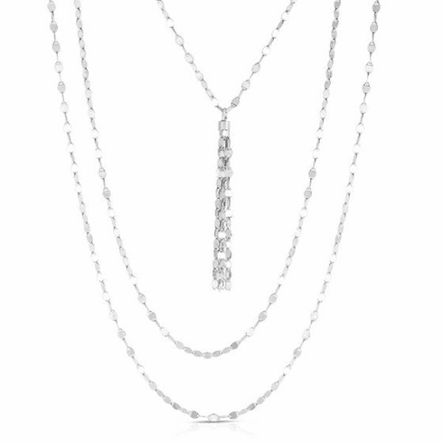 """Silver 18"""" with Rhodium Finish Necklace with Lobster Clasp - AGRC2941"""