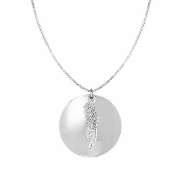 "Silver 18"" with Rhodium Shiny Round Leaf Necklace with Lobster Clasp"