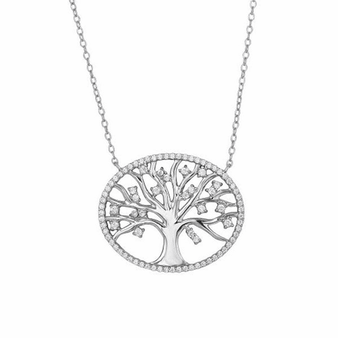 "Silver 18"" with Rhodium White CZ Tree of Life In Oval Fancy Necklace"